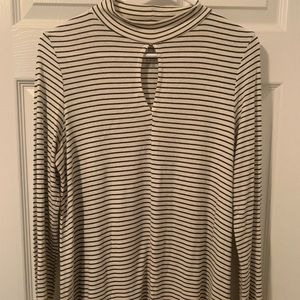 American Eagle Striped Mockneck with Keyhole